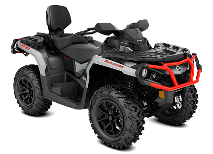 10_2018 Outlander MAX XT 650 Brushed Aluminium  Can-Am Red_3-4 front