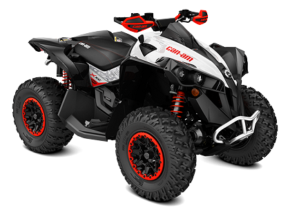 15_2018 Renegade X xc 650 White, Black  Can-Am Red_3-4 front